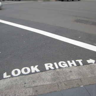 """Look Right"" Sign so that they can stop scraping tourists off the sidewalk in Sydney, Australia."