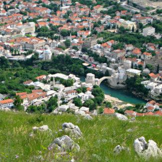 Aerial shot of Stari Most bridge in Mostar, Bosnia & Herzegovina