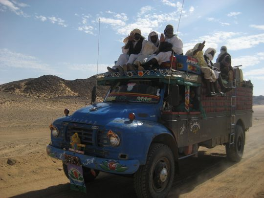 Truck on dusty road in Sudan
