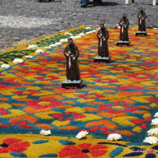 Semana Santa processions and carpets in Guatemala