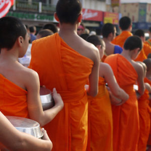 monks alms giving in chiang mai