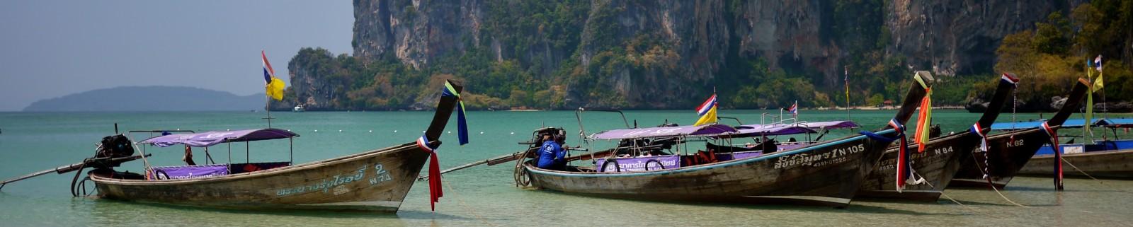 Railay Beach Thailand longboats
