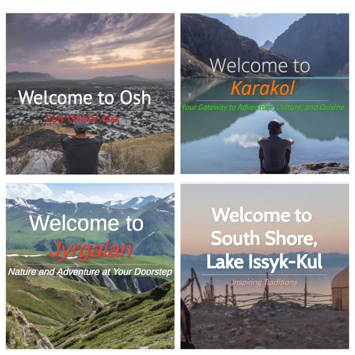 The four homepages of Destination Kyrgyzstan tourism sites